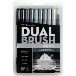 Set de 10 Marcadores Acuarelables Doble Punta Tombow Dual Brush Pens - Grises