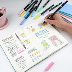 Set Pastel 10 Marcadores Acuarelables Doble Punta Tombow Dual Brush Pens Lettering