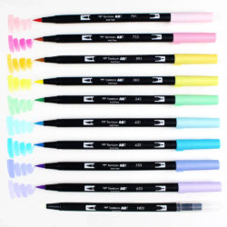 Set Pastel 10 Marcadores Acuarelables Doble Punta Tombow Dual Brush Pens Swatch