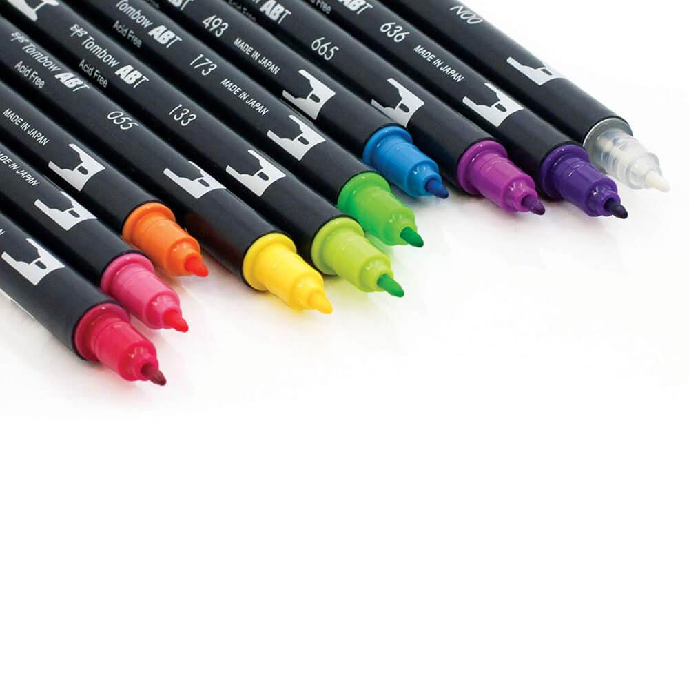 Set Vivo 10 Marcadores Acuarelables Doble Punta Tombow Dual Brush Pens Tips