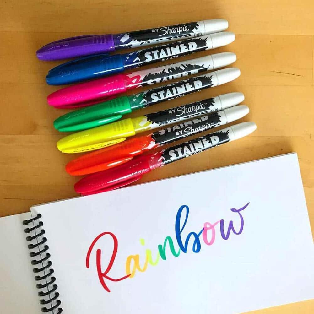 Set 8 Marcadores Permanentes Punta Pincel Sharpie STAINED Rainbow
