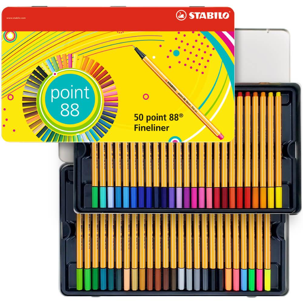 Rotulador punta fina STABILO point 88 mini y rotulador STABILO Pen 68 mini Estuche con 4 colores ne/ón de cada