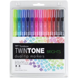 Set 12 Marcadores Acuarelables Doble Punta Tombow Twintone Brights