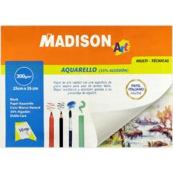 Block Madison de Papel para Acuarela Favini 35% Algodón (25 x 35 cm)
