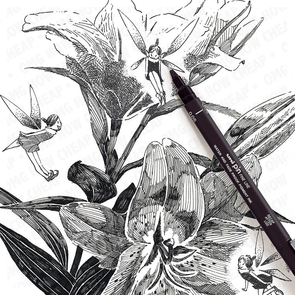 Estilógrafos de Dibujo uni Pin Fine Line Dibujo