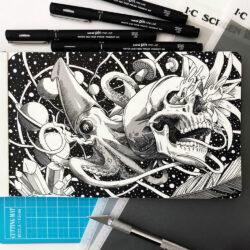 Estilógrafos de Dibujo uni Pin Fine Line Ilustración