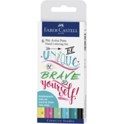 Set 6 Rotuladores para Lettering Faber-Castell PITT Artist Pens Creative Studio Pastel