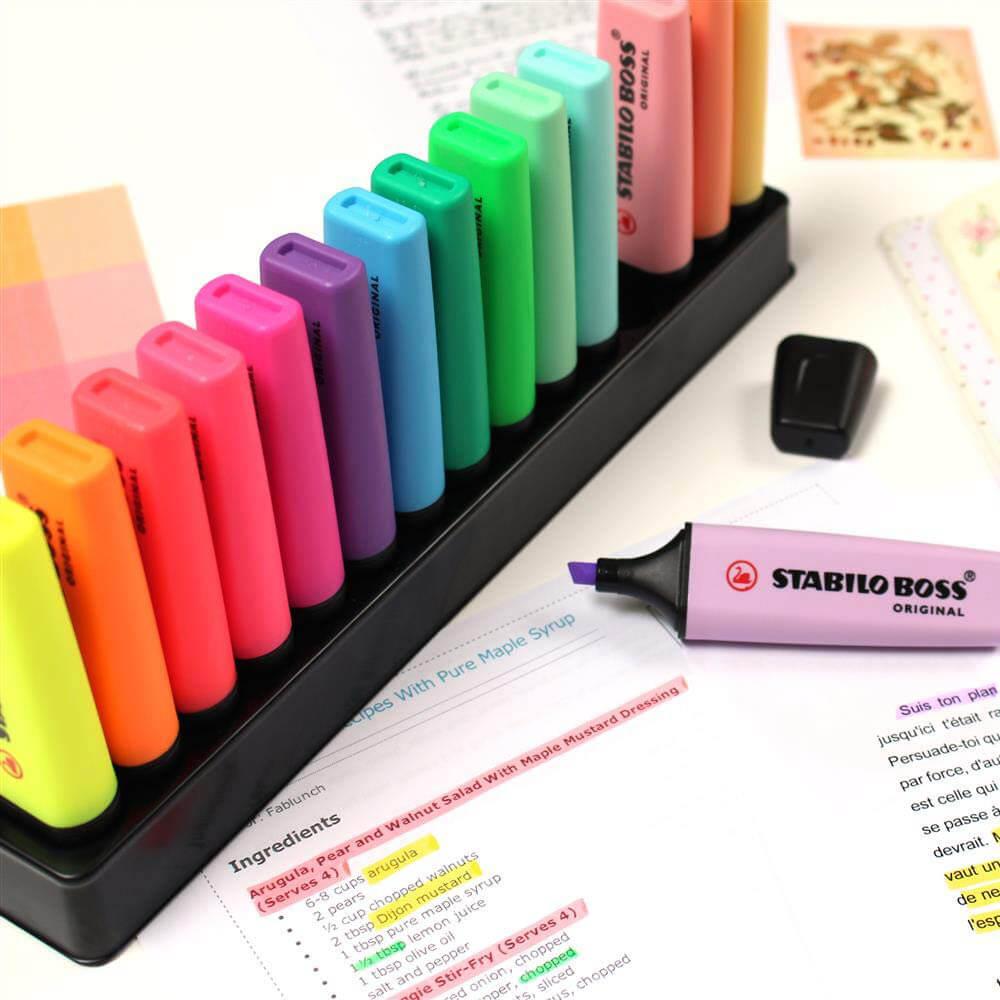 Set de Escritorio 15 Colores Surtidos Resaltadores STABILO BOSS Edición Limitada Notas