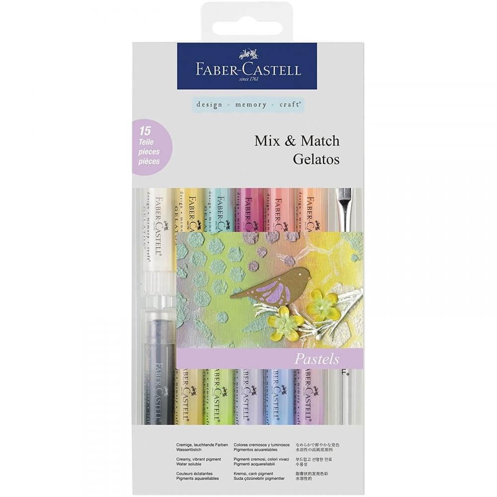 Set 15 Piezas Gelatos Faber-Castell Mix & Match Colores Pastel