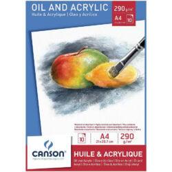 Bloc de Papel para Óleo y Acrílicos CANSON con 10 Hojas de 290 g Tamaño A4