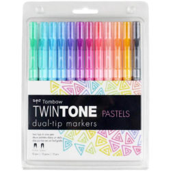 Set 12 Rotuladores Acuarelables Doble Punta Tombow Twintone Pastel