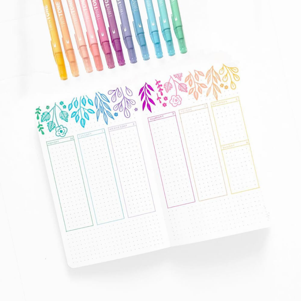 Set 12 Rotuladores Acuarelables Doble Punta Tombow Twintone Pastel Bullet
