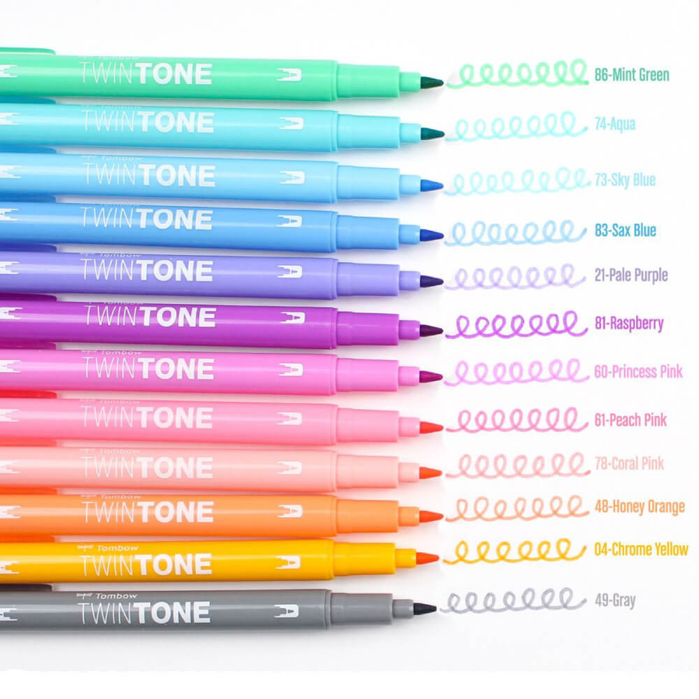Set 12 Rotuladores Acuarelables Doble Punta Tombow Twintone Pastel Swatch
