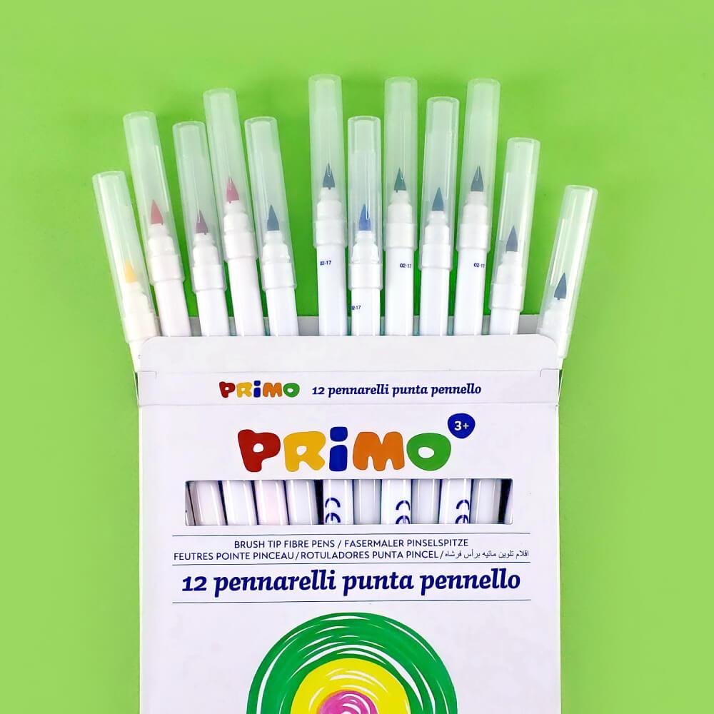 Set 12 Marcadores Punta Pincel PRIMO Vista