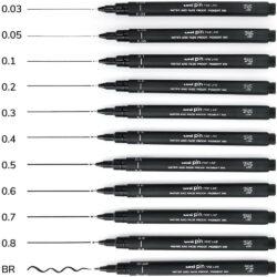Estilógrafos de Dibujo uni PIN Fine Line Negro (10 Grados y Brush)