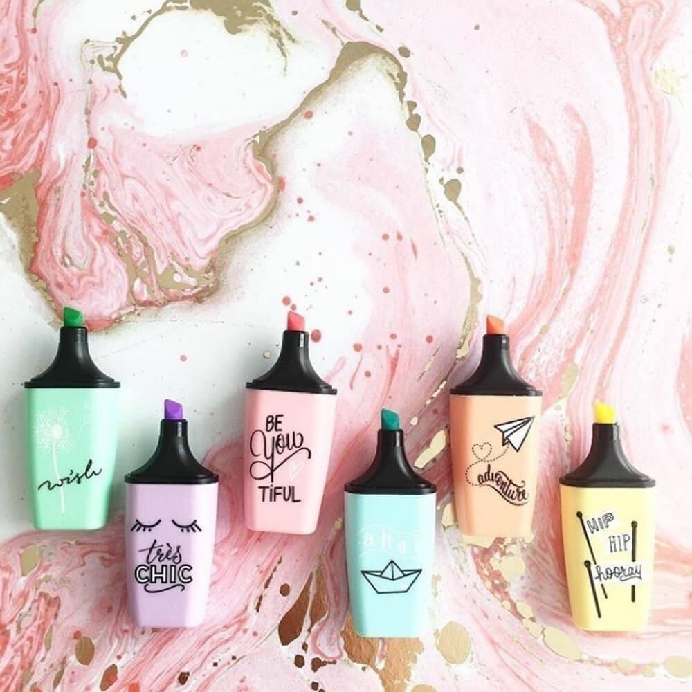 Set 6 Resaltadores STABILO BOSS Mini Pastel Love Edición Limitada Fondo