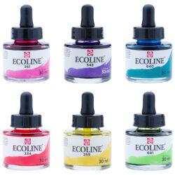 Frascos de Acuarela Líquida ECOLINE 30 ml por Unidad (60 Colores)