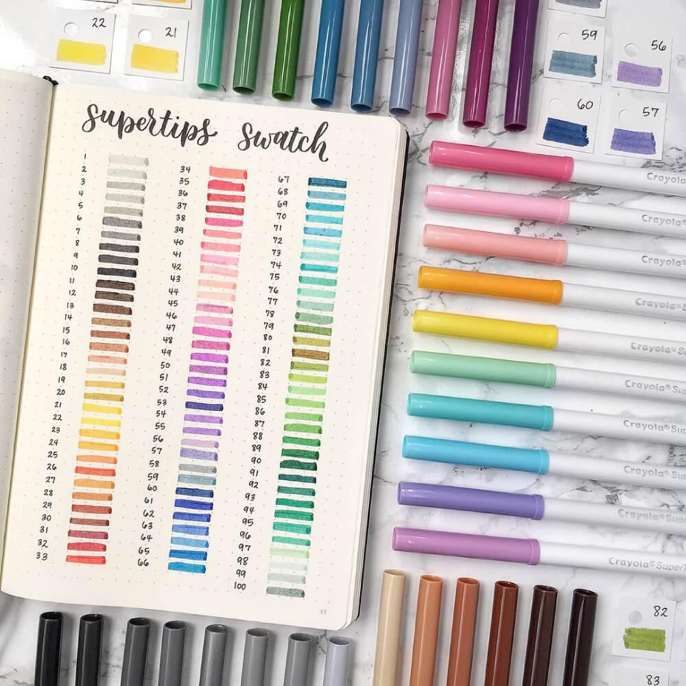 Set 100 Marcadores Crayola Super Tips Swatch