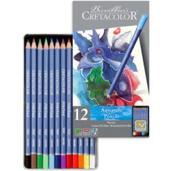 Estuche Metálico con 12 Lápices Acuarelables para Bellas Artes CRETACOLOR Marino