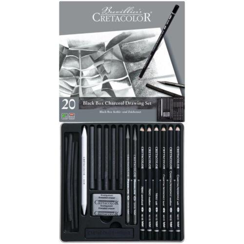 Estuche Metálico con 20 Piezas para Dibujo con Carboncillo CRETACOLOR Black Box