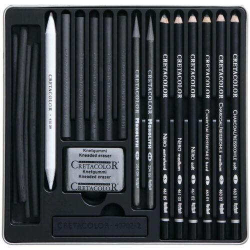 Estuche Metálico con 20 Piezas para Dibujo con Carboncillo CRETACOLOR Black Box Contenido