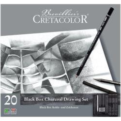 Estuche Metálico con 20 Piezas para Dibujo con Carboncillo CRETACOLOR Black Box Frente