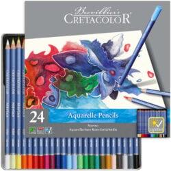 Estuche Metálico con 24 Lápices Acuarelables para Bellas Artes CRETACOLOR Marino
