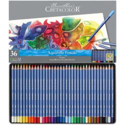 Estuche Metálico con 36 Lápices Acuarelables para Bellas Artes CRETACOLOR Marino