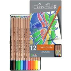 Estuche Metálico con 12 Lápices Tiza Pastel para Bellas Artes CRETACOLOR