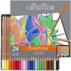 Estuche Metálico con 24 Lápices Tiza Pastel para Bellas Artes CRETACOLOR