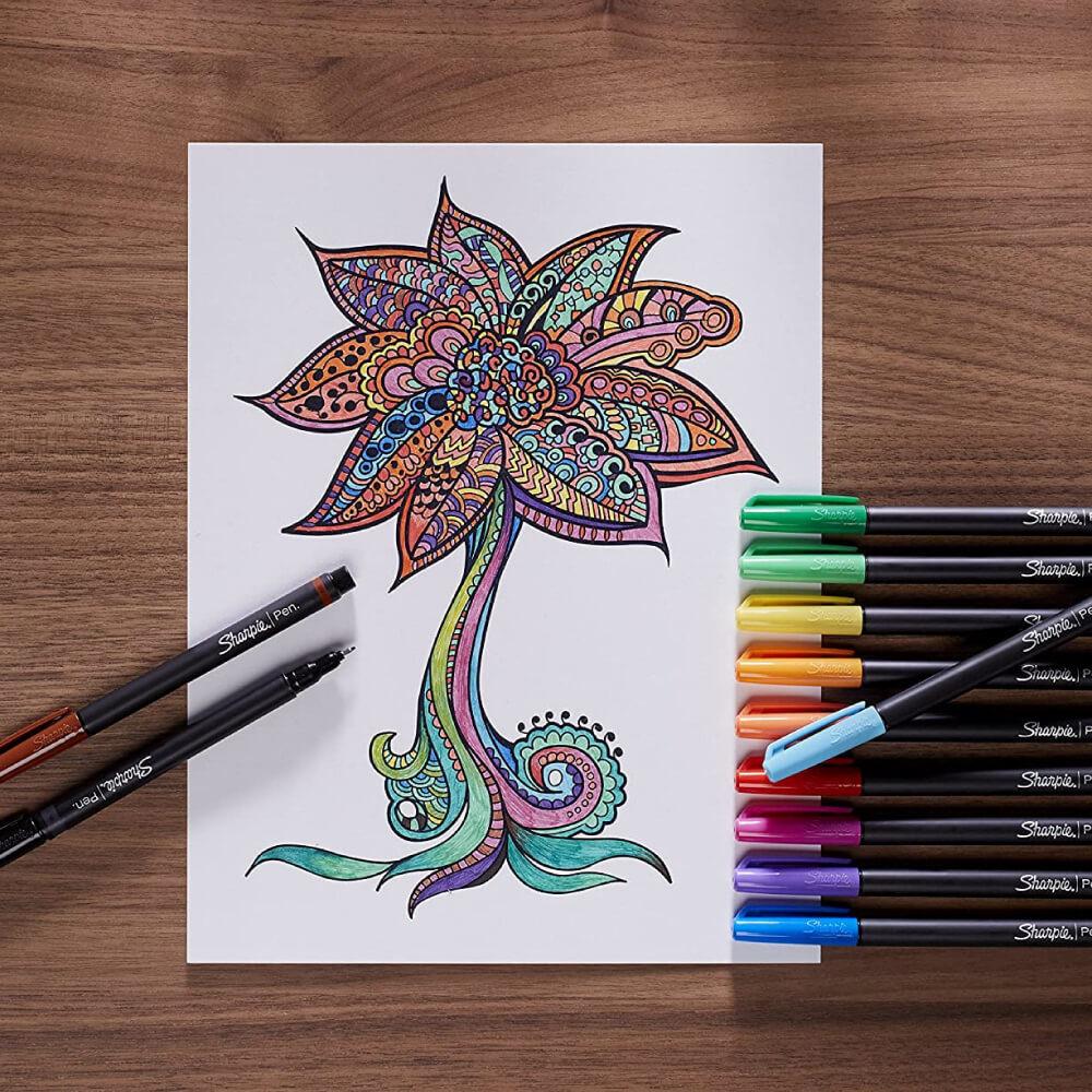 Estuche Plástico con 16 Micropuntas Sharpie Art Pen Uso