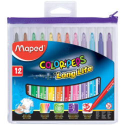 Estuche con Cierre con 12 Marcadores Lavables Maped Color'Peps Long Life