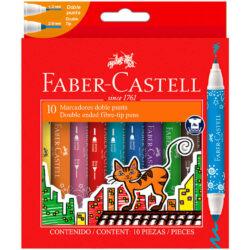 Set 10 Marcadores Doble Punta Faber-Castell
