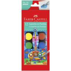 Set 12 Acuarelas en Pastillas con Pincel Faber-Castell