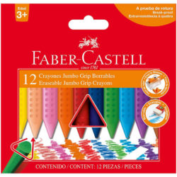 Set 12 Crayones Borrables Faber-Castell Jumbo Grip