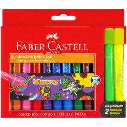 Set 12 Marcadores Lavables Jumbo Faber-Castell (2 Neón)