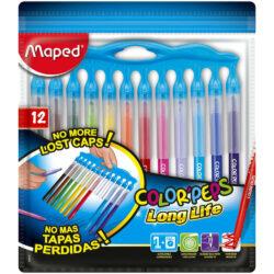 Set 12 Marcadores Lavables con Tapas Imperdibles Maped Color'Peps Long Life