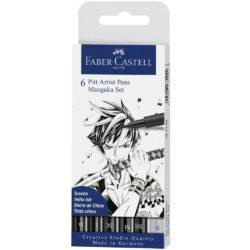 Set 6 Rotuladores para Dibujo Faber Castell PITT Artist Pens Mangaka