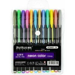 Set 12 Bolígrafos Gel Metálicos neon color
