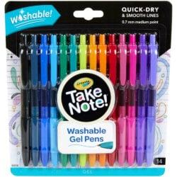 Set 14 Bolígrafos Gel Retráctiles Lavables 0.7 Crayola Take Note!