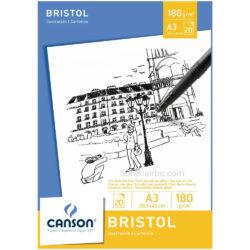 Bloc de Papel Bristol CANSON con 20 Hojas de 180 g Tamaño A3
