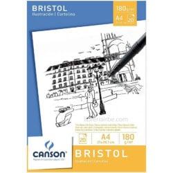 Bloc de Papel Bristol CANSON con 20 Hojas de 180 g Tamaño A4