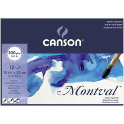 Bloc de Papel para Acuarela CANSON Montval® con 12 Hojas de 300 g (18 x 25 cm)
