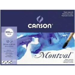 Bloc de Papel para Acuarela CANSON Montval® con 12 Hojas de 300 g (24 x 32 cm)