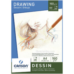 Bloc de Papel para Dibujo CANSON con 20 Hojas de 160 g Tamaño A4