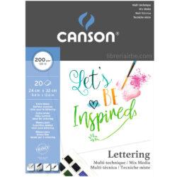 Bloc de Papel para Lettering con Técnicas Mixtas CANSON con 20 Hojas de 200 g (24 x 32 cm)