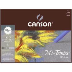 Bloc de Papel para Pasteles Tonos Grises CANSON Mi-Teintes® con 30 Hojas de 160 g (24 x 32 cm)