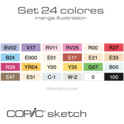 Estuche Rígido con 24 Marcadores COPIC Sketch Manga Illustration Swatch