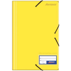 Folder con Liga Plástico Tamaño Oficio Artesco Amarillo