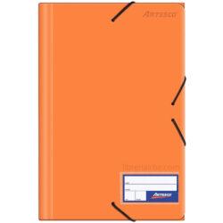 Folder con Liga Plástico Tamaño Oficio Artesco Naranja